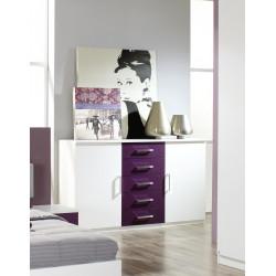 Commode contemporaine 2 portes/5 tiroirs Venise