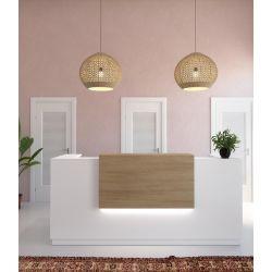 Banque d'accueil blanche avec réhausse coloris acacia foncé Omega I