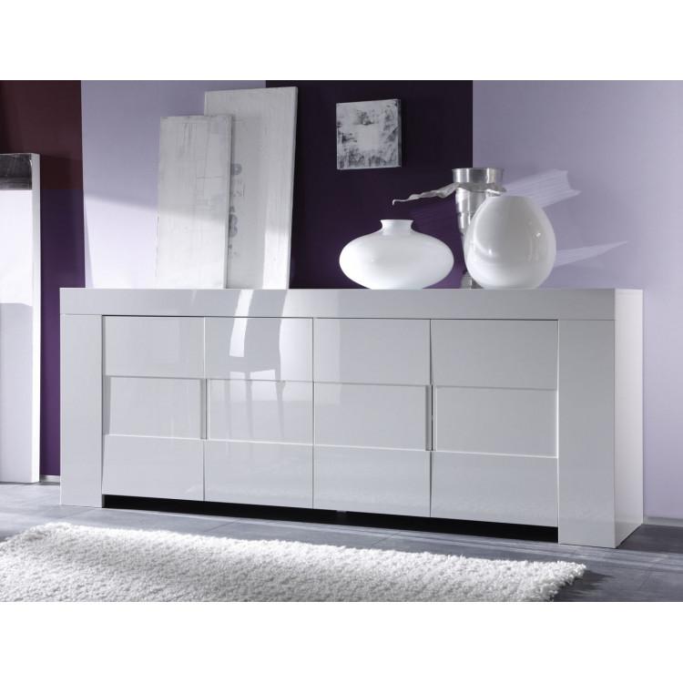 Buffet/bahut 4 portes design laqué blanc Judy