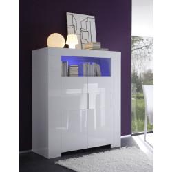 Vaisselier/bar 2 portes design laqué blanc Judy