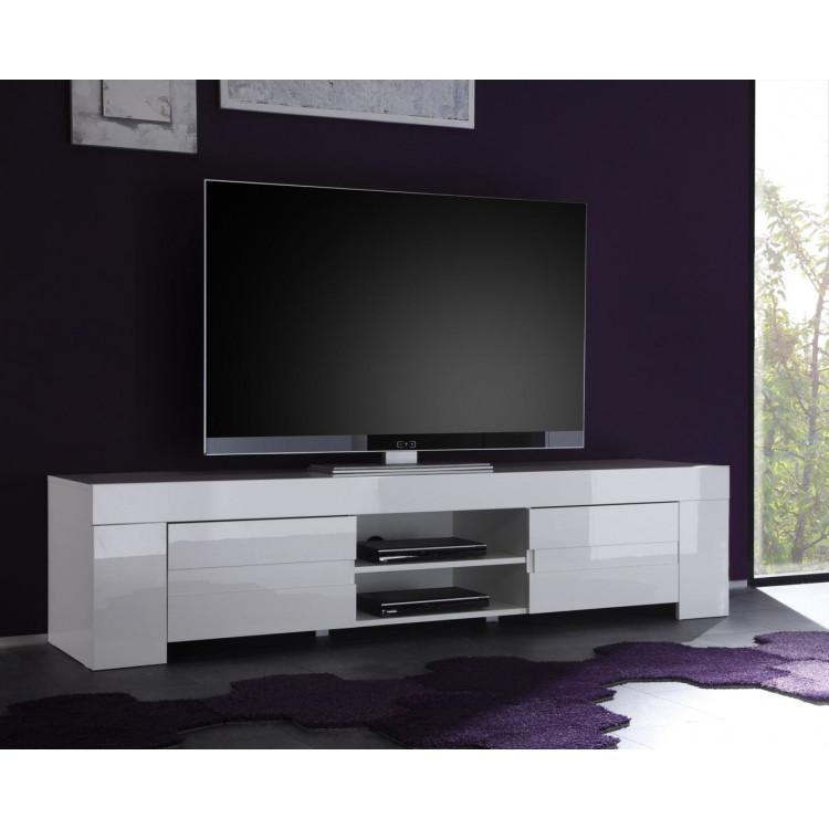 Meuble TV/Hifi design laqué blanc Judy