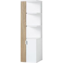 Etagère de salle de bain scandinave chêne/blanc Geralda I