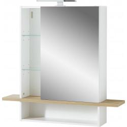 Armoire de toilette scandinave chêne/blanc Geralda