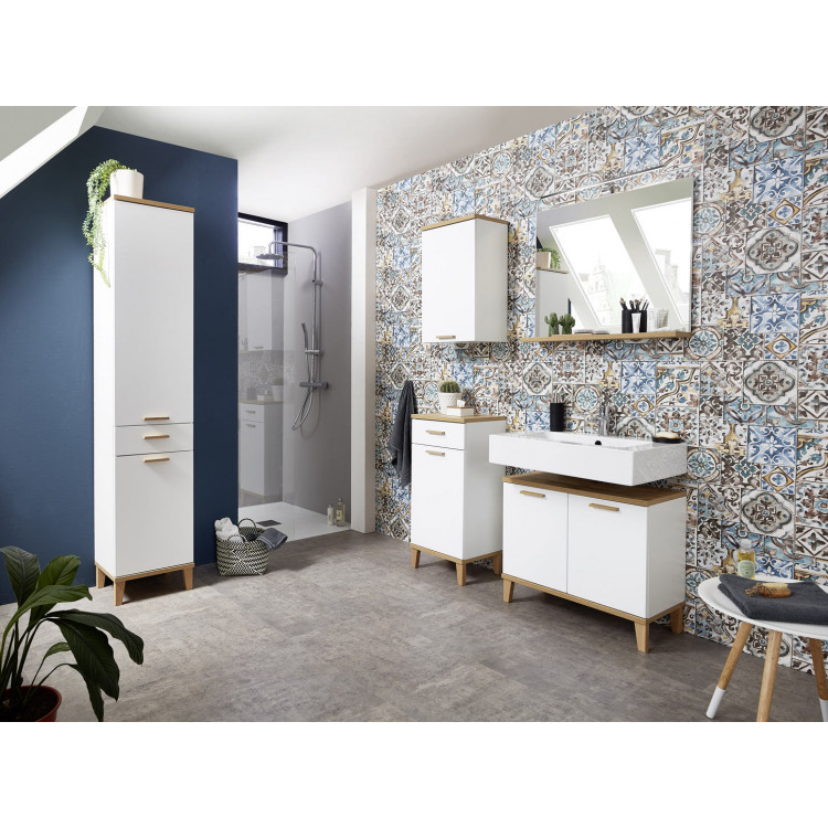 Ensemble de salle de bain scandinave blanc/chêne Tropica