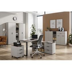 Ensemble de bureau moderne gris/noyer Louana