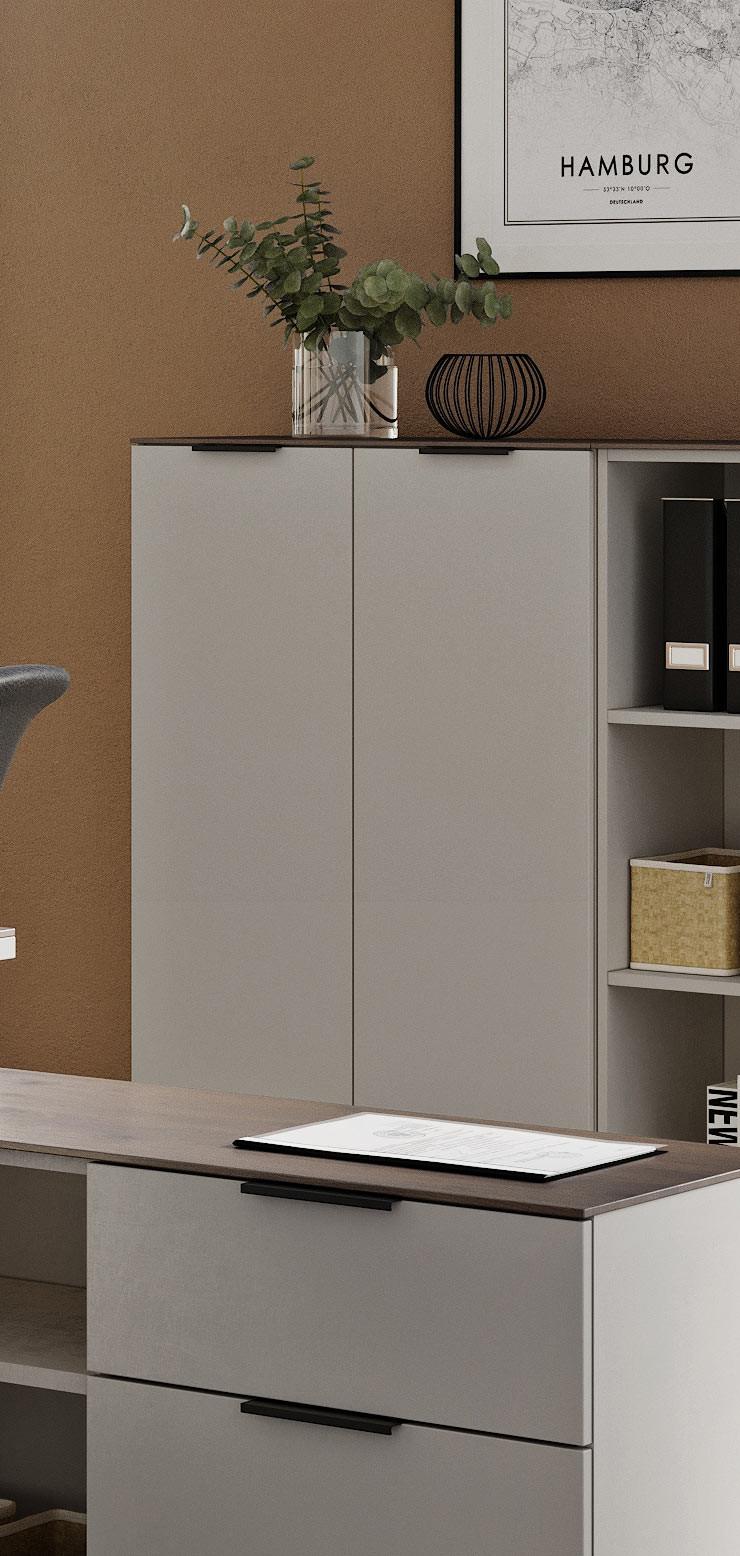 Armoire de bureau moderne hauteur 120 cm gris/noyer Louana ...