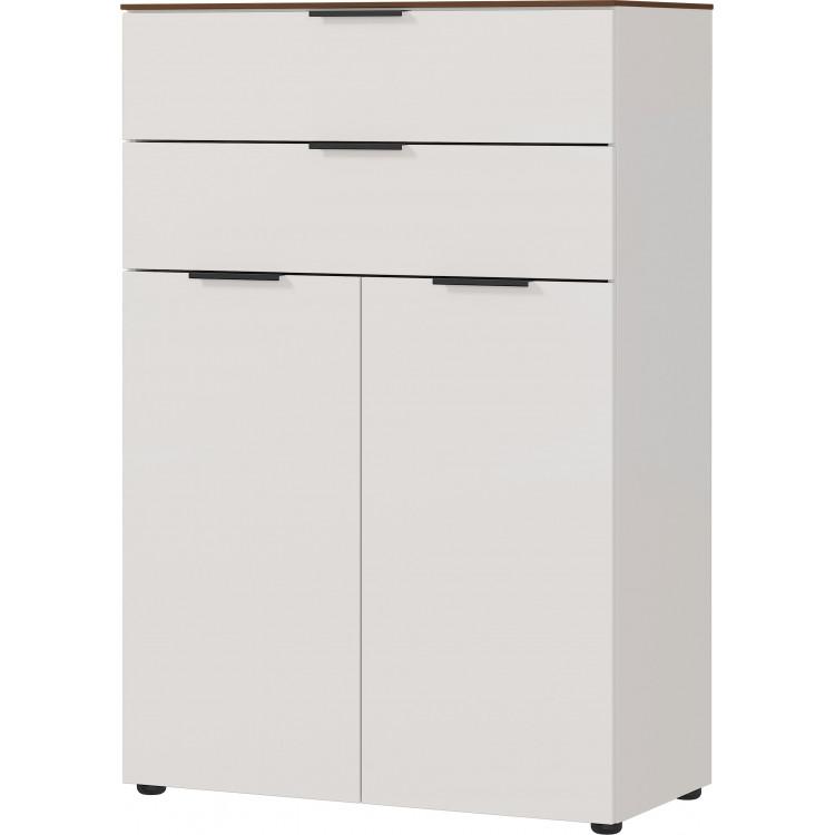 Armoire de bureau moderne hauteur 120 cm gris/noyer Louana I