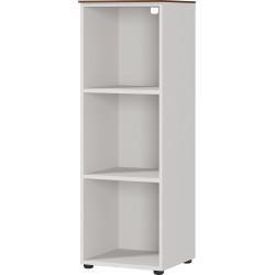 Etagère de bureau moderne hauteur 120 cm gris/noyer Louana