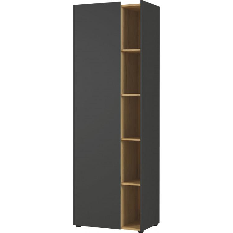 Armoire de bureau moderne hauteur 188 cm graphite/chêne Calvine