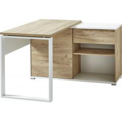 Bureau d'angle moderne chêne/blanc Pietro