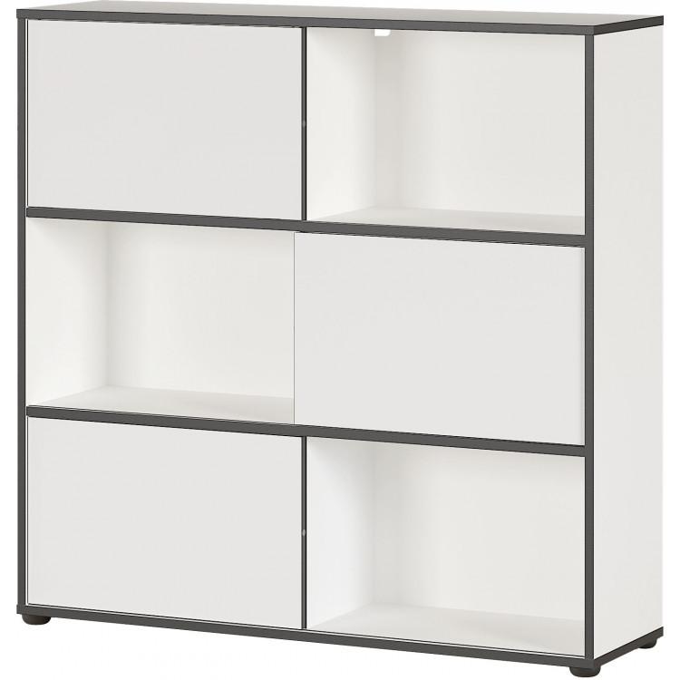Armoire de bureau moderne hauteur 119 cm blanc/noir Amira