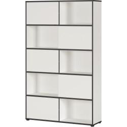 Armoire de bureau moderne hauteur 196 cm blanc/noir Amira