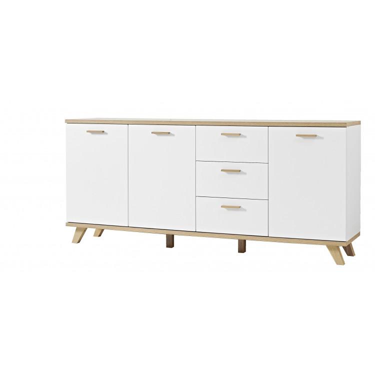 Buffet/bahut scandinave 192 cm chêne/blanc Losana