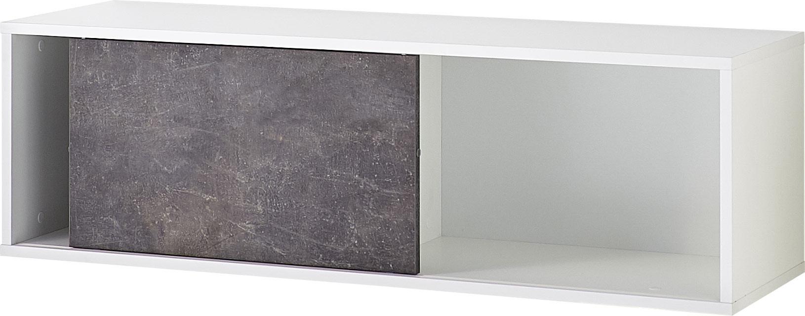 Etagère de bureau suspendue moderne blanc/basalte Mezzo