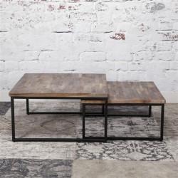 Tables basses industrielles en bois et acier Solna