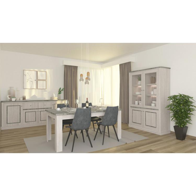 Salle à manger contemporaine chêne clair/gris béton Emmanuelle