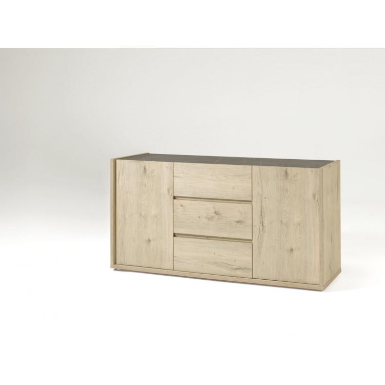 Buffet/bahut contemporain 170 cm chêne/gris marbré Enzo