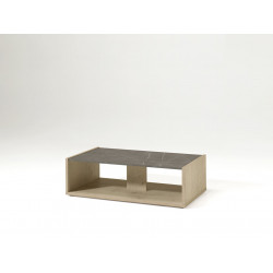Table basse contemporaine chêne/gris marbré Enzo