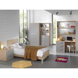 Chambre enfant contemporaine chêne/gris Julien