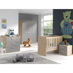 Chambre bébé contemporaine chêne/gris Julien