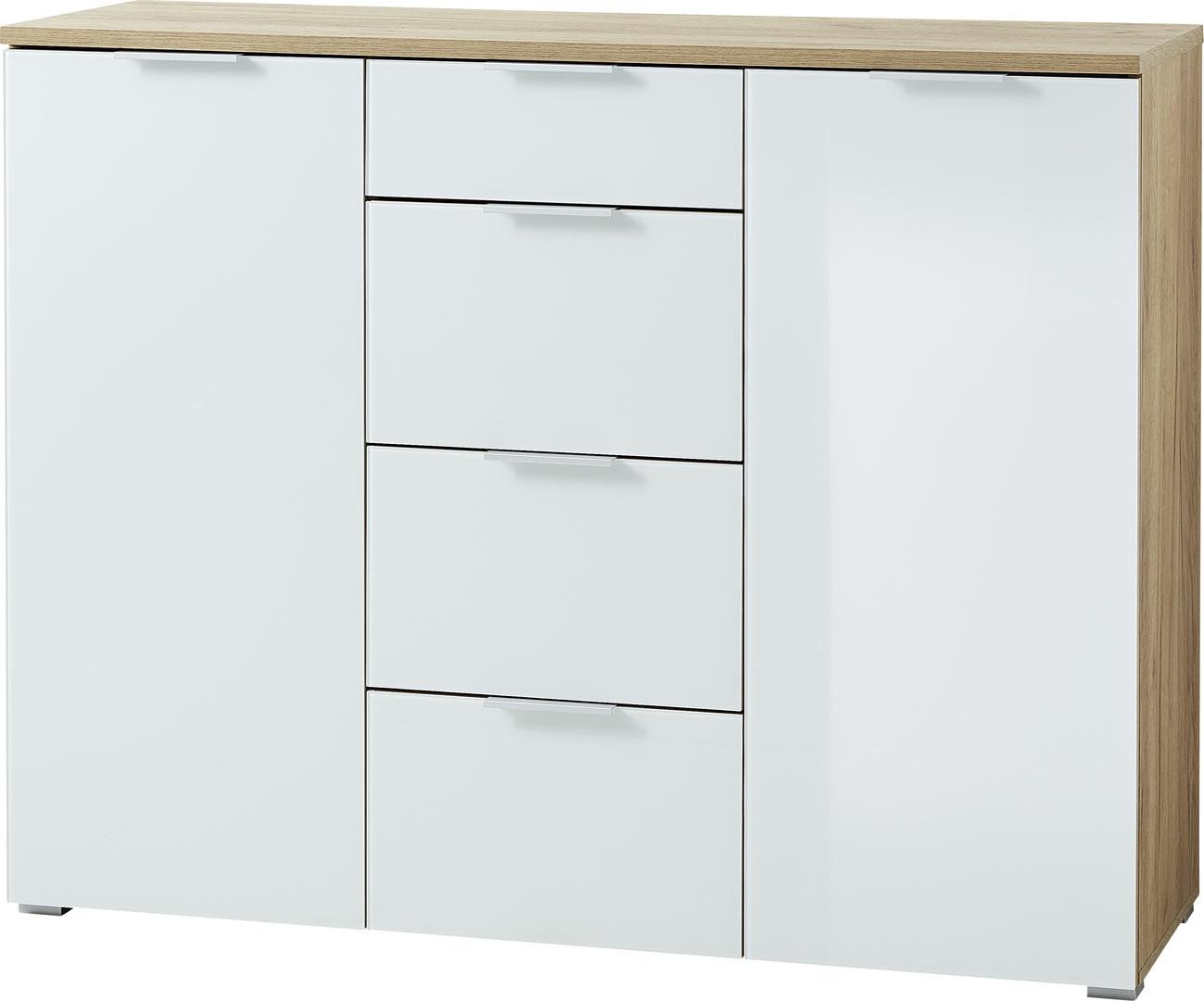 Buffet/bahut moderne 134 cm blanc/chêne Omaha