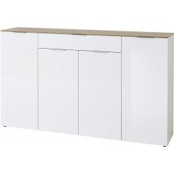 Buffet/bahut contemporain 179 cm blanc/chêne Célina