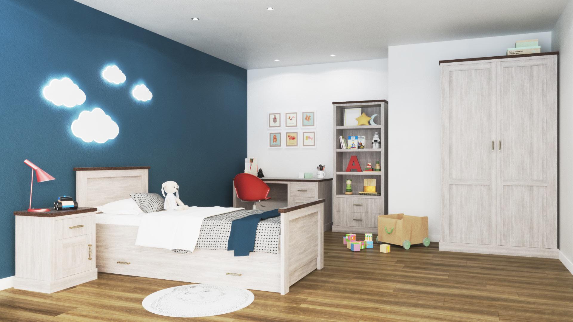 Chambre enfant contemporaine chêne clair/marron Solange