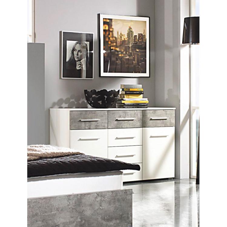 Commode contemporaine blanc/gris béton Kigali