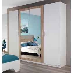 Armoire adulte contemporaine 4 portes blanc/chêne Nahel