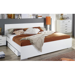 Lit adulte contemporain avec chevets blanc Laurana