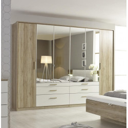 Armoire adulte moderne 271 cm chêne/blanc Mirsa
