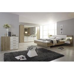 Chambre adulte moderne chêne/blanc Mirsa I