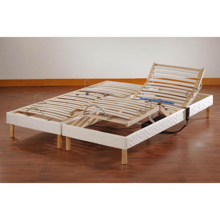 Ensemble literie mousse relaxation électrique 2 x 80 x 200 cm Mikka