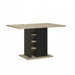 Table de cuisine moderne chêne/noir Yako