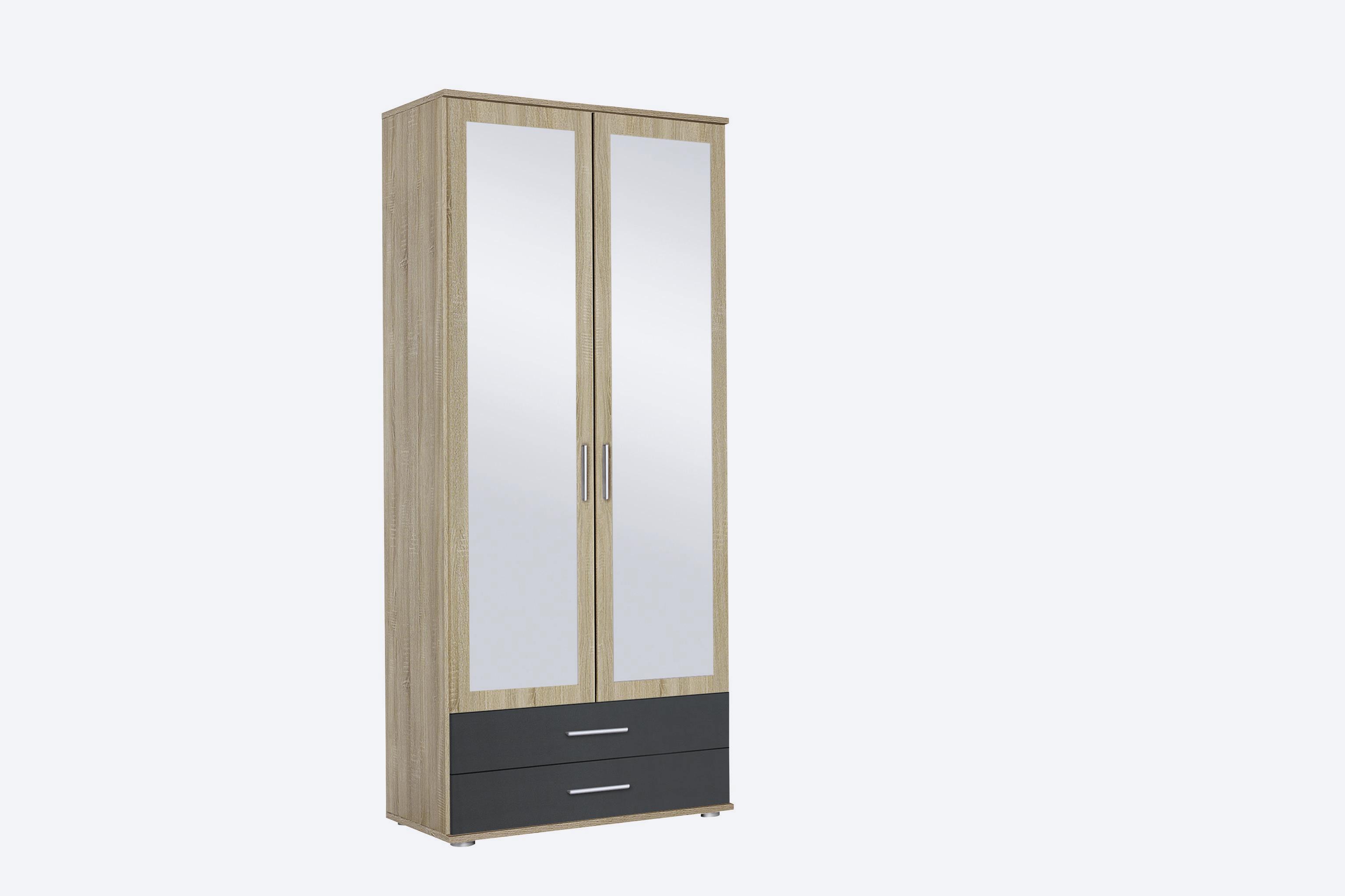 Armoire contemporaine 85 cm chêne/anthracite Lazaro