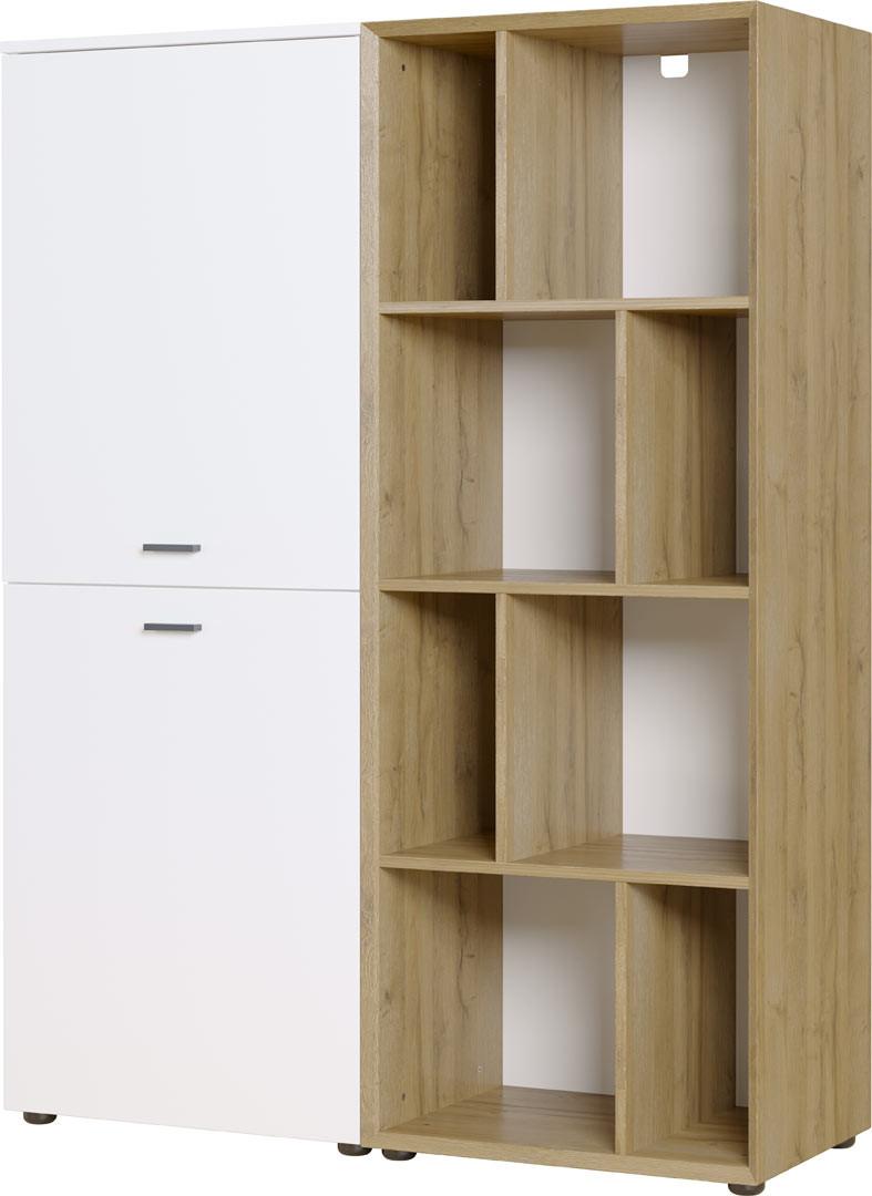 Vaisselier/argentier scandinave 108 cm blanc/chêne Joshua