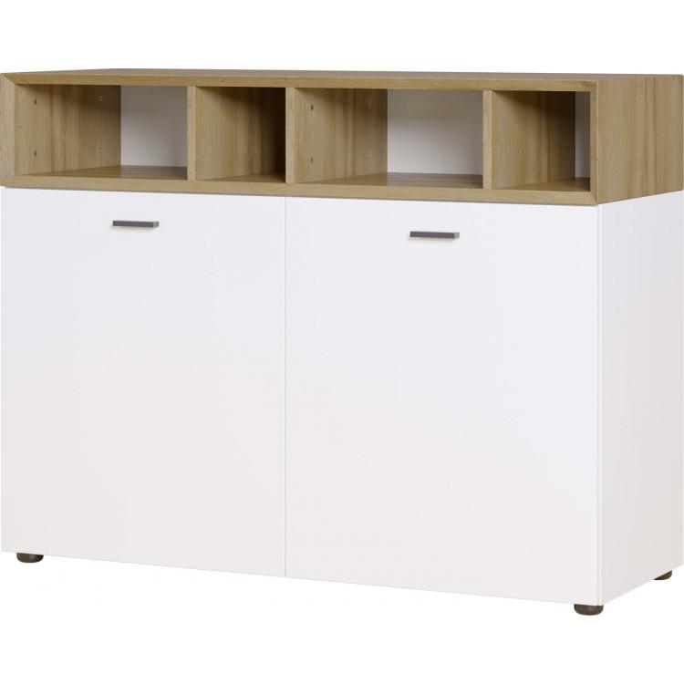 Buffet/bahut scandinave 106 cm blanc/chêne Joshua