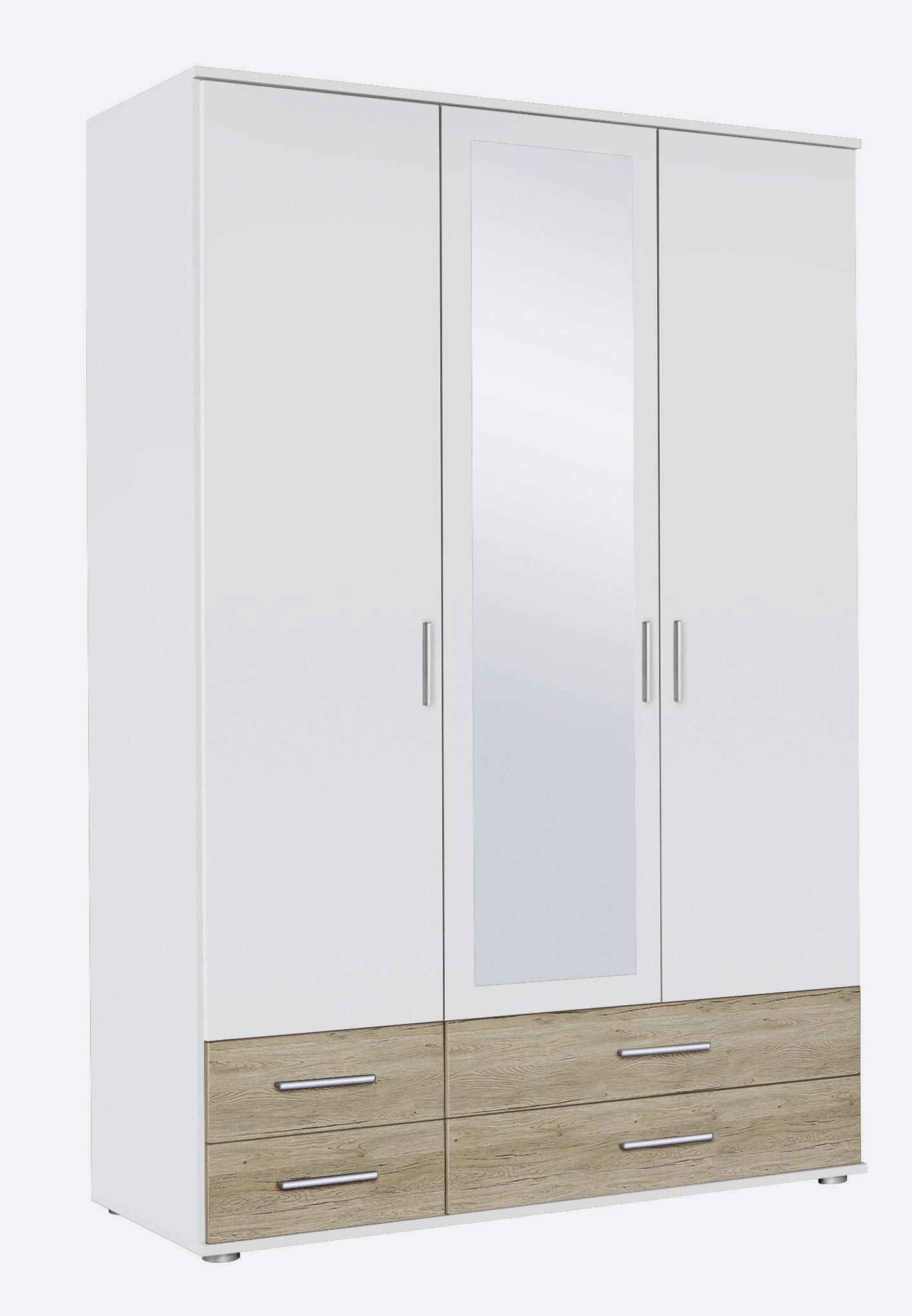 Armoire contemporaine 127 cm blanc/chêne Lazaro