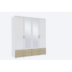 Armoire contemporaine 168 cm blanc/chêne Lazaro
