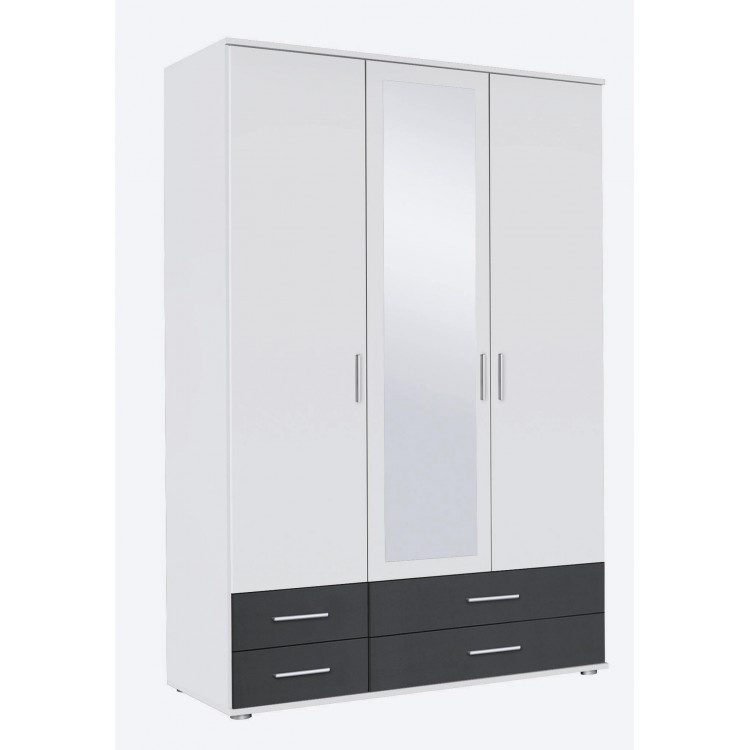 Armoire contemporaine 127 cm blanc/anthracite Lazaro