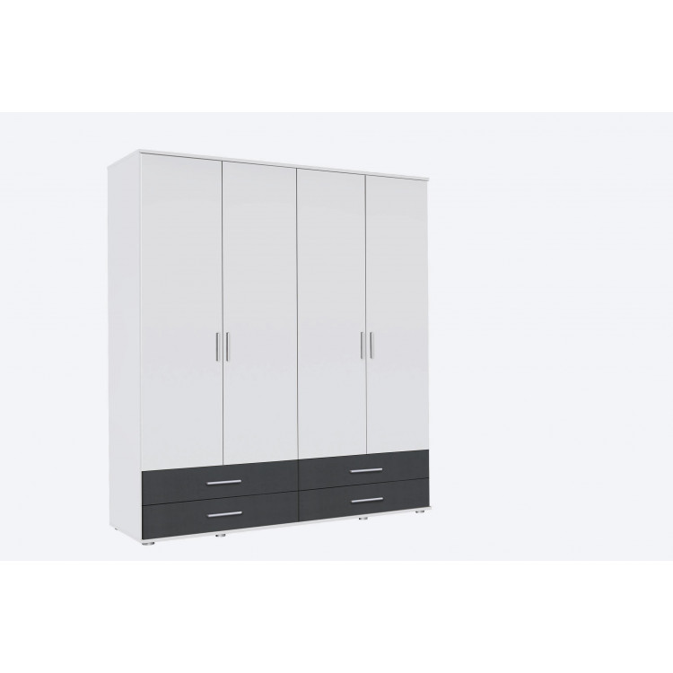 Armoire contemporaine 168 cm blanc/anthracite Lazaro
