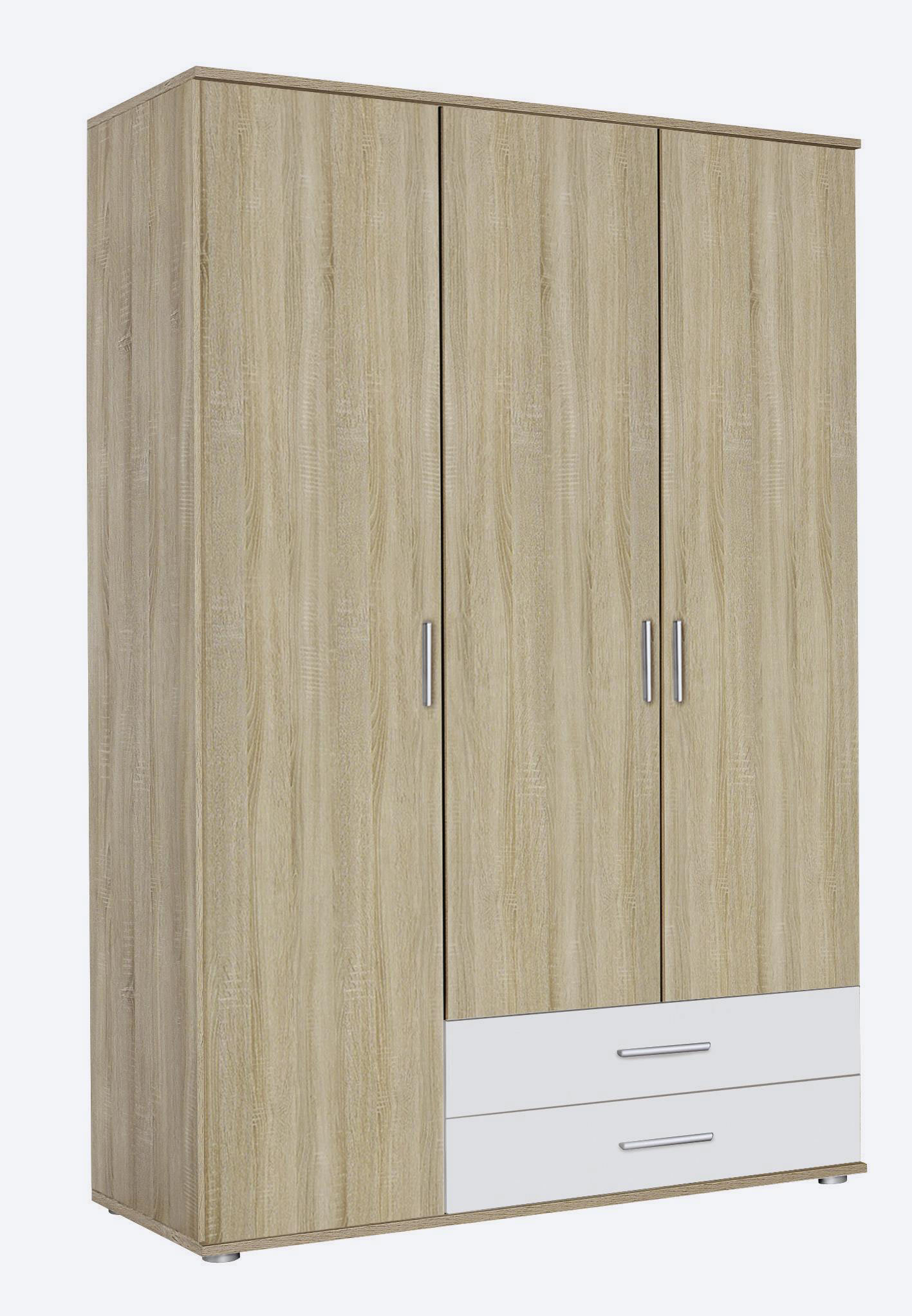 Armoire contemporaine 127 cm chêne/blanc Lazaro