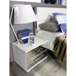 Chevet design blanc/chromé Alexandra