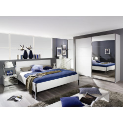 Chambre adulte design blanc/chromé Alexandra