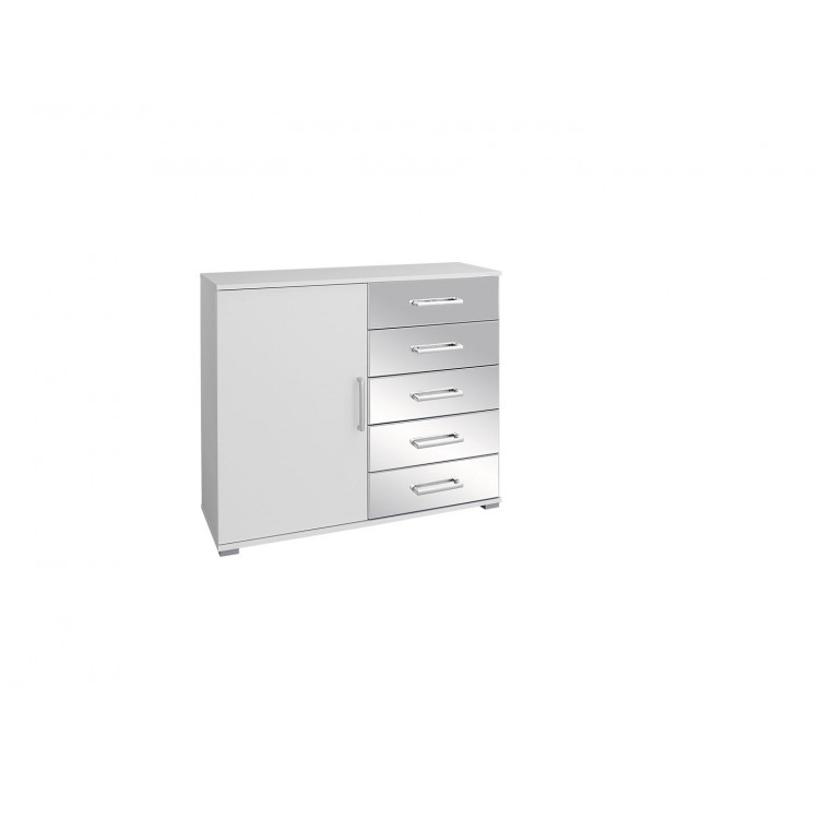 Commode moderne 1 porte/5 tiroirs blanche Alexandra