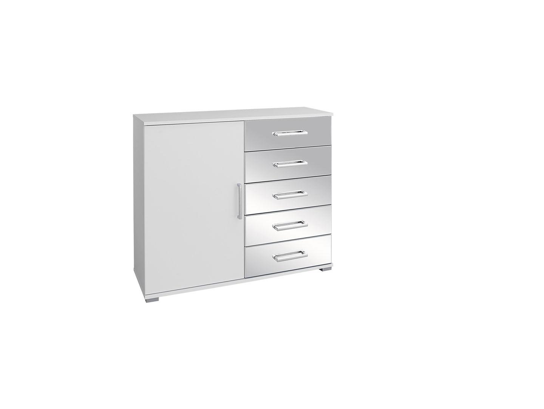 Commode design 93 cm blanc/chrome Alexandra