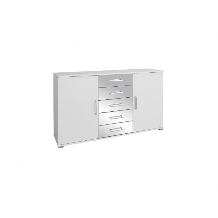 Commode moderne 2 portes/5 tiroirs blanche Alexandra