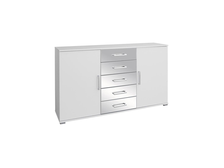 Commode design 140 cm blanc/chrome Alexandra