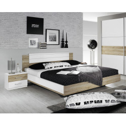 Lit adulte contemporain avec chevets Orchidee