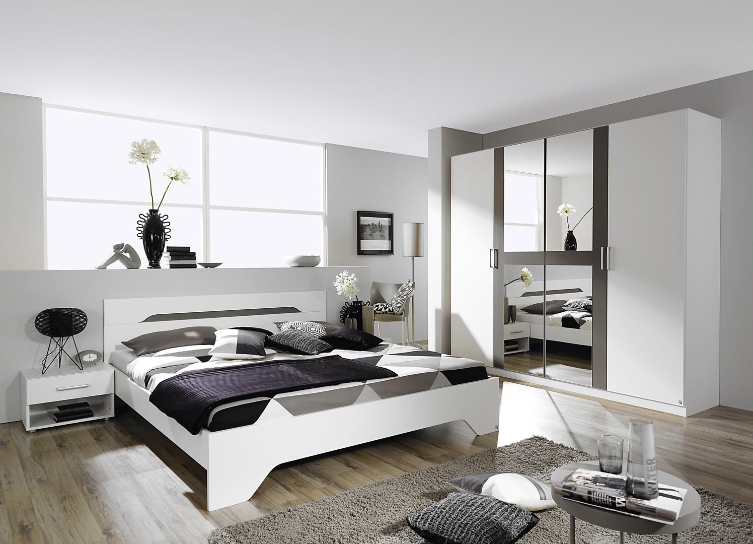 Chambre adulte contemoraine blanc/gris Rudie